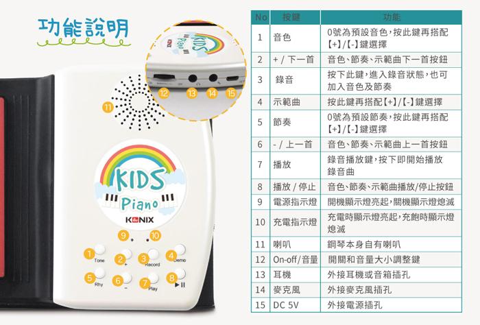 Konix 49鍵彩虹兒童手捲鋼琴 24位元微處理器 音色更圓潤 擬真